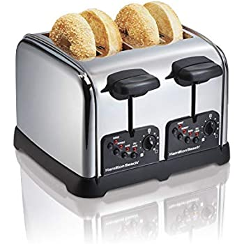 Hamilton Beach Classic Chrome 4-Slice Extra-Wide Slot Toaster with Bagel Technology, One-Touch Smart Functions, Shade Selector, Toast Boost, Auto-Shutoff and Cancel Button (24790)