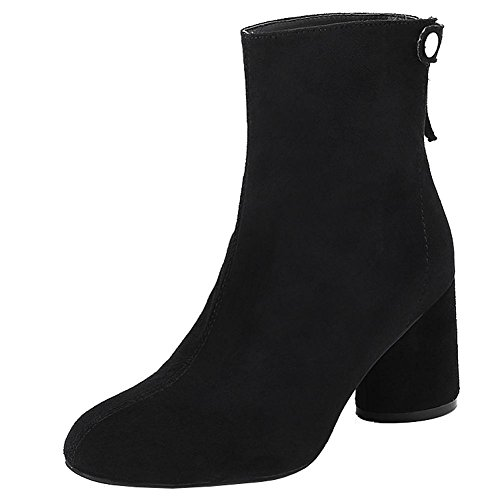 Women Short Boots Wide High Heels Leather Thicker Warm Rivet Ankle Shoes BLACK-36 QbVoCG2xD
