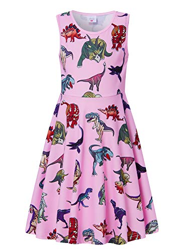 uideazone Dresses for Girls Holiday Pink Dinosaur Print Dress Girl's Wear Summer Dress Dinosaur Birthday ()