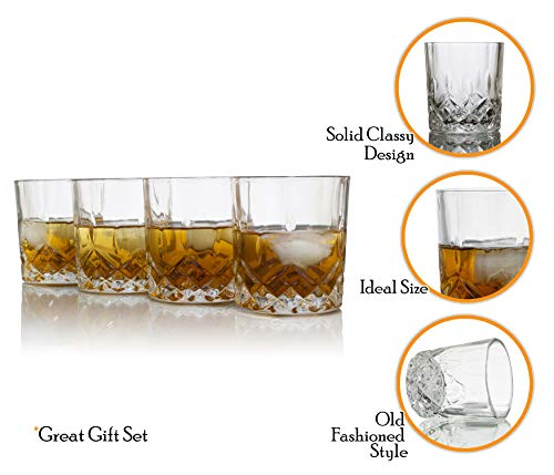 Whiskey Glasses, Set of 4 Classic Scotch Crystal Clear, Old Fashioned Bourbon Drinking Cups by Dobaccio (Image #2)