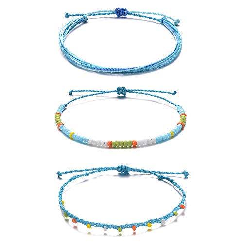 Tarsus Waterproof Adjustable Boho Ankle Bracelets Set Braided String Hawaii Anklets Jewelry Gifts for Women Teen Girls