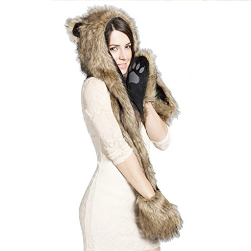 [Cute Winter Faux Fur Hood Hoodie Hat Warm Earflap Costume Hat Scarf with Paws Mittens Pockets] (Warm Costumes)
