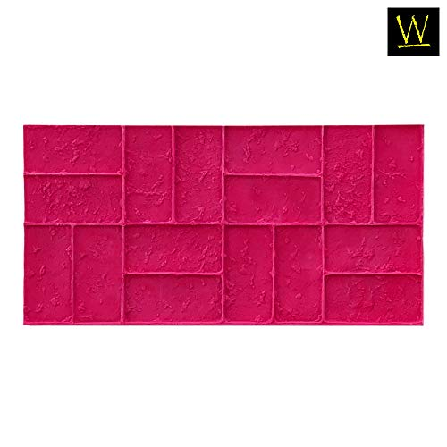 Worn Brick Basketweave Concrete Stamp Single by Walttools | Classic Woven Paver Pattern, Sturdy Polyurethane Texturing Mat, Decorative Realistic Detail (Red, - Classic Concrete