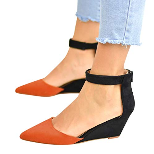 Women's Casual Pointed Toe Low Wedge Flat Shoes Ankle High Walking Platform Pumps Sandals Orange