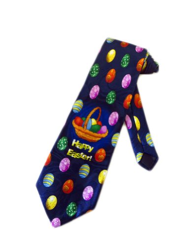 Steven Harris Mens Easter Eggs Basket Necktie - Navy Blue - One Size Neck Tie Easter Eggs Tie