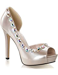 Summitfashions Womens Champagne Patent DOrsay Pumps Shoes with 4.75 Heels and Rhinestones
