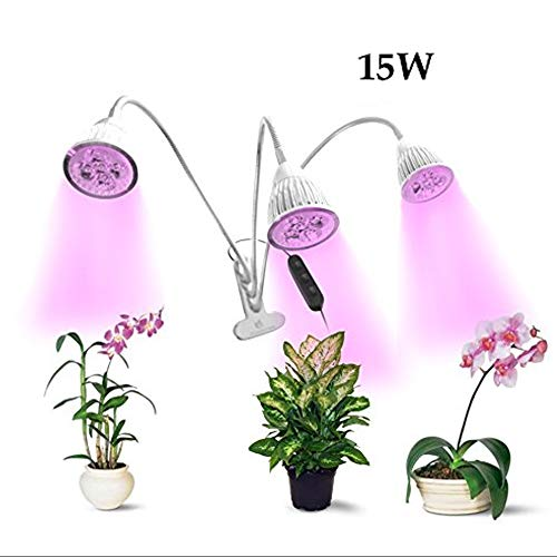 ShalBal's 15W Triple Head LED Grow Light Desk Clip Lamp with 360 Degree Flexible Gooseneck Grow Light for Indoor Plants, Hydroponic Gardening, Greenhouse, Office
