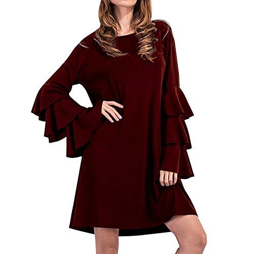 Haotfire Women's Long Flare Bell Sleeve Blouse Casual Tunic Mini Dress A Line
