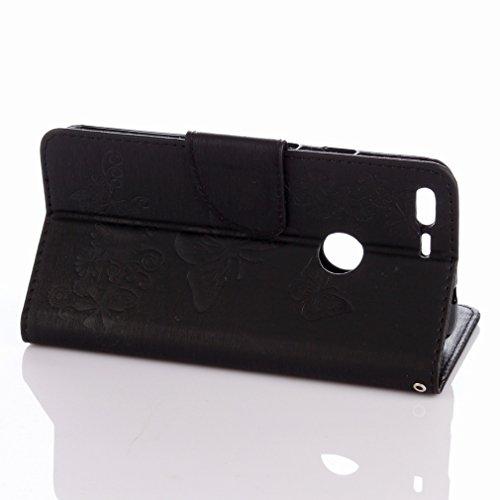 Yiizy Google Pixel XL Custodia Cover, Farfalla Fiore Design Sottile Flip Portafoglio PU Pelle Cuoio Copertura Shell Case Slot Schede Cavalletto Stile Libro Bumper Protettivo Borsa (Nero)