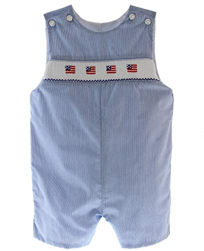 Petit Bebe Anavini Boys Smocked Flag Shortall Outfit July 4th Clothing 4T Blue