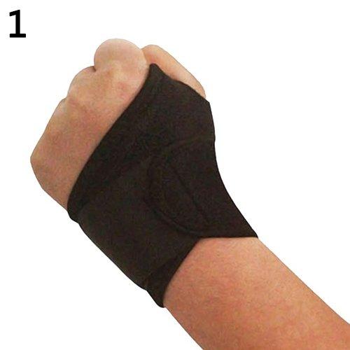 xxiaoTHAWxe Unisex Wrist Guard Band Brace Support Carpal Tunnel RSI Pain Bandage Wristband - Black