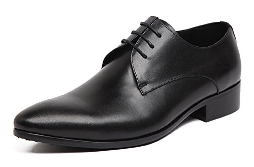Santimon Mens Classico In Pelle Moderna Oxford Lace Up Gradiente Punta Vestito Scarpe Nere 7 Us