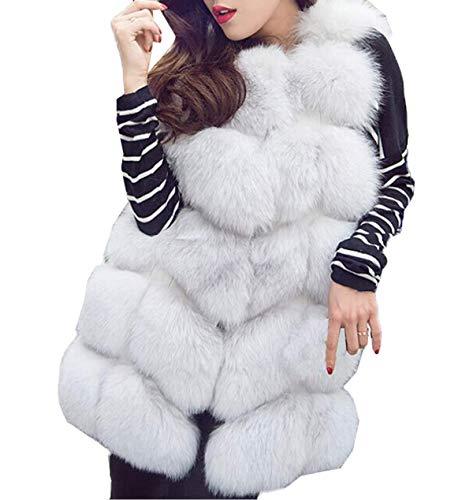 Automne Hiver Femmes Gilets en Fausse Fourrure Elgante Mode sans Manche Hauts Blousons Vestes Casual Tops Chaud Manteaux Jacket Coat Outerwear Pulls