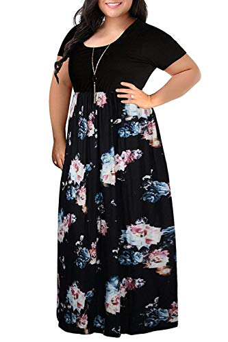 (Women's Plus Size Maxi Dress Floral Multicoloured Short Sleeve Casual Full Long Dress 14W)