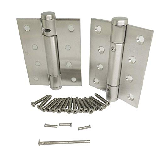 Ranbo Stainless Steel Heavy Duty Spring Loaded Door Butt Hinge,Automatic Closing/Soft Closer/Adjustable Tension/Support Buffer 5 X 3 inch Brushed Chrome(Pair) Thickness 2.9 mm - Spring Loaded Door