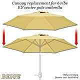 Cheap Strong Camel Replacement Umbrella Canopy Cover for 6.5ft 6 Ribs Patio Market Umbrella (CANOPY ONLY) (Beige)