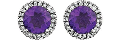 Amethyst and Diamond Halo Button Earrings, Rhodium-Plated 14K White Gold (.13 Cttw, Color HIJ, Clarity I1-I2) by The Men's Jewelry Store (for HER)