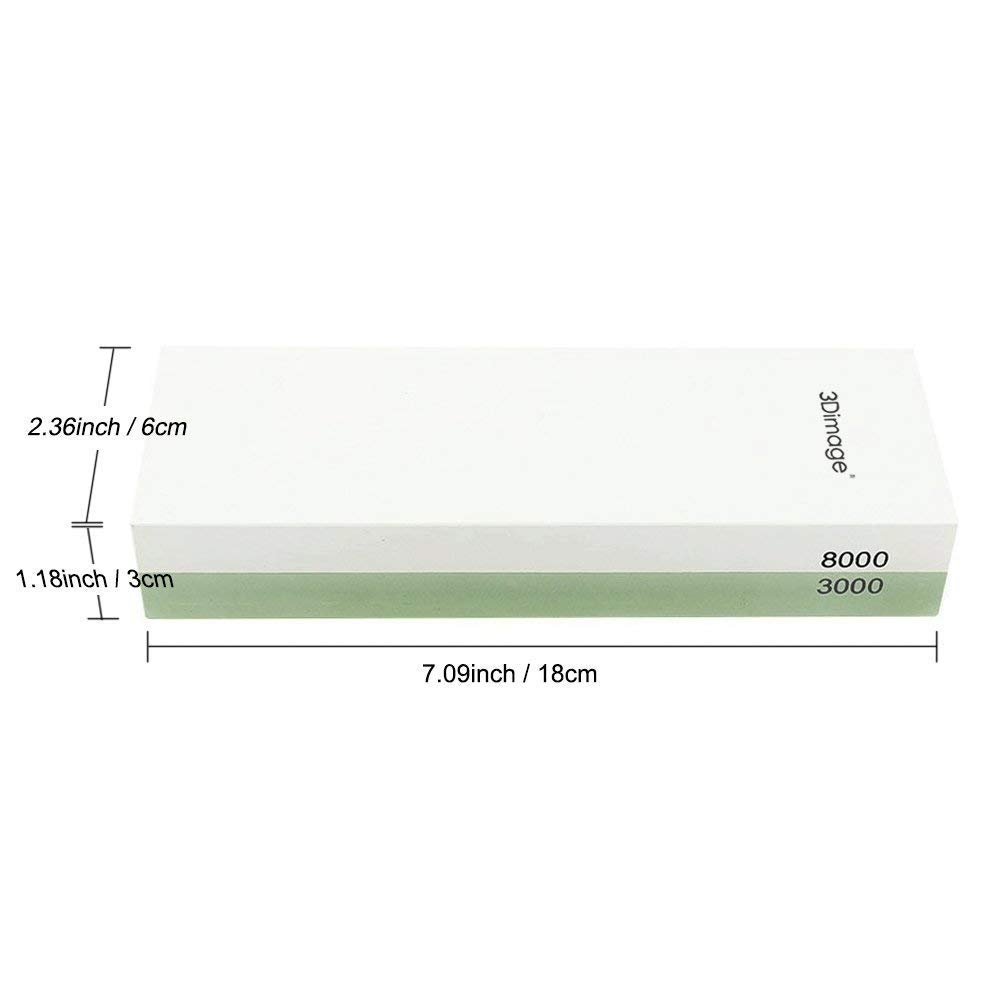 3Dimage® Whetstone 2-IN-1 Sharpening Stone 3000/8000 Grit Whaterstone, Rubber Stone Holder Includedd