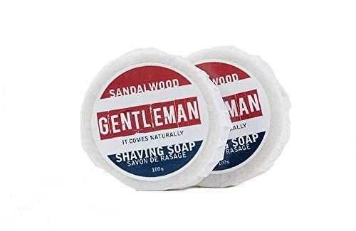 Natural Sandalwood Shaving Soap Refills for Sensitive Skin - Synthetic Fragrance Oil and Palm Free - Handmade with Moisturizing Shea Butter - 100g 2 Bars