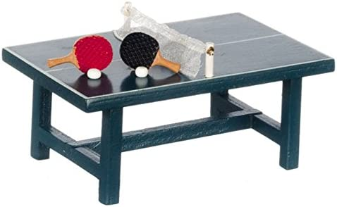 Miniatures World Dollhouse Miniature Ping Pong Table w/Two Paddles & Balls