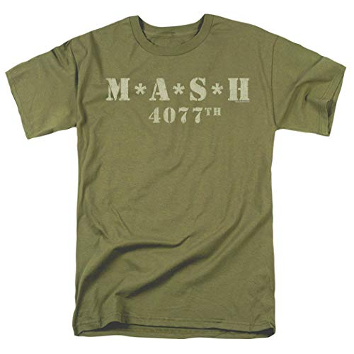 Popfunk MASH Distressed Logo T Shirt & Exclusive Stickers (X-Large) Military Green