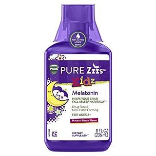ZzzQuil Pure Zzzs Kidz Liquid Melatonin Nighttime Sleep-aid for Kids & Children, 8 Fl oz, 1mg per Serving