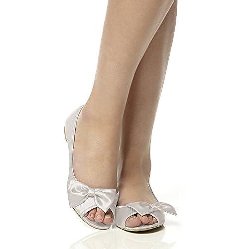 Women's Satin Peep Toe Bridal Ballet Flats by Dessy