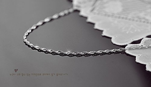 Sterling Silver twisted rope chain necklace; 28'' Color:Royal silver