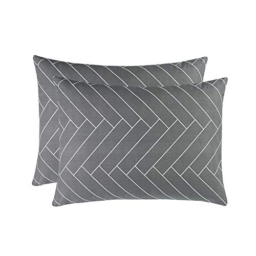 (Wake In Cloud - Pack of 2 Pillow Cases, 100% Cotton Pillowcases, Chevron Herringbone Geometric Modern Pattern Printed on Gray Grey (Standard Size, 20x26 Inches))