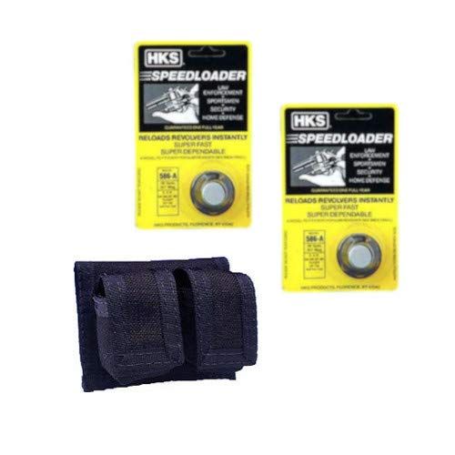 Westlake Market, HKS 2-Pack 586-A Speed Loader 357 Magnum Fits S&W 686, Ruger GP100 6-Shot w/Case Plus One Double Pouch Case