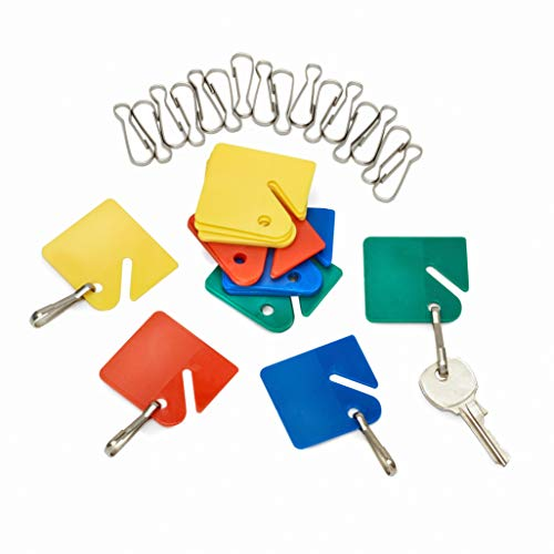 (AdirOffice Colored Hanging Key Tags - Well Made Plastic Tags with Durable Hook - Ease of Tactile Identification for Home & Office - Pack of 20)