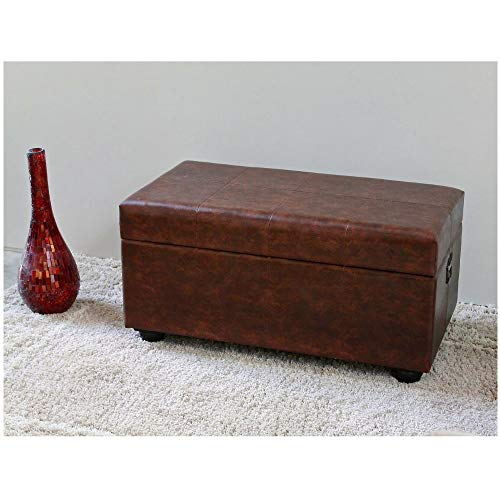 Chest Trunk Organizer Storage Ottoman Bench Rectangular Upholstered Faux Leather with Lid Padded Seat Footrest Bedroom Living Room Office Furniture & eBook by BADA Shop