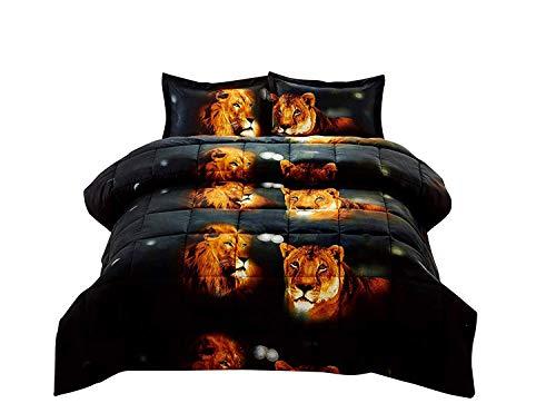 HUAJIE 3 Piece Set Beautiful Soft 3D Print Vivid Animals Pattern Box Stitched Comforter Set (1 Comforter,2 Pillowcase) (King, Tiger Lion) ()