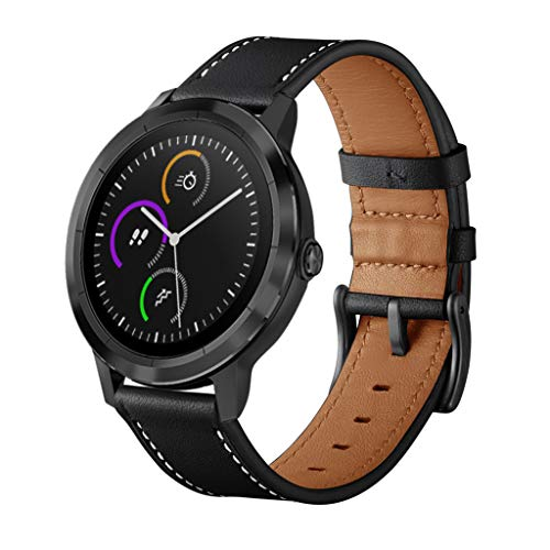 (Sodoop for Garmin vivoactive 3 Watchban, Top Grain Leather Band Replacement Strap Wristband Bracelet for Garmin vivoactive 3 Fitness Smart Watch)