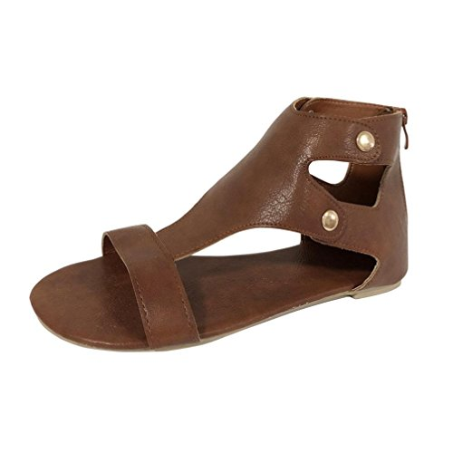 Hometom Wedge Sandals, Women Flat-bottomed Roman Jesus Sandals Open Ankle Flat Shoes (Brown, US:9)