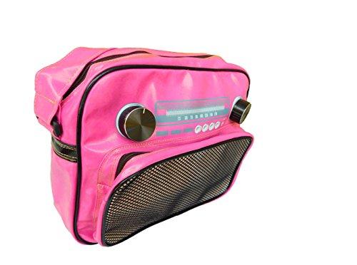 Jukebox Musicbox Schultertasche Damentasche pink Reissverschluss 32 x 27 x 8 cm