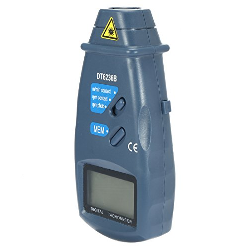 DT-6236B 2 in 1 Digital Tachometer,Contact / Non-Contact Photo Tachometer RPM Tach Meter | 2.5 - 99,999 RPM Accuracy with Linear and Rotation Speed Measurement Wheels (Contact And 1 1)