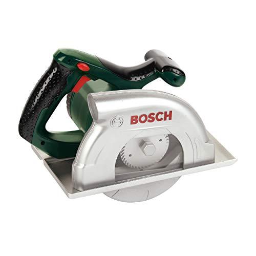 Theo Klein 8421 Sierra circular Bosch, A pilas., movimiento de sierra circular y función de luz y sonido, Medidas: 23 cm x 16 cm 14.5 cm, Juguete para niños a partir de 3 años