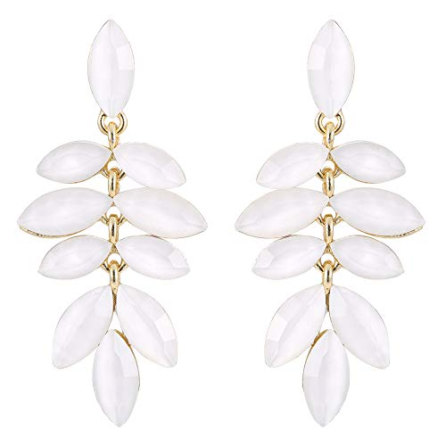 - Stylebar White Drop Earring for Women Girls Marquise Multi-Leaf Summer Chandelier Dangle Dangling Earrings Gold-tone Crystal