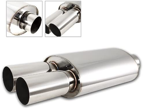 3 Dual Flat Tip T-304 Stainless Steel 2.5 Inlet Exhaut Muffler