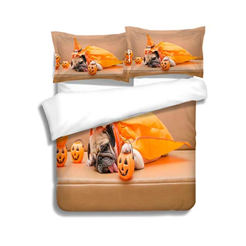 MTSJTliangwan Duvet Cover Set Pug Dog with Halloween Costume Sleep on Sofa 3 Piece Bedding Set with Pillow Shams, Queen/Full, Dark Orange White Teal Coral