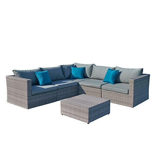 Supernova Outdoor Patio 6pc Sectional Furniture Wicker Rattan Sofa Set | No Assembly Needed | All-weather | Free Cover