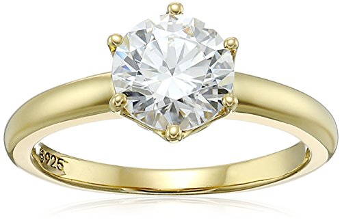 Platinum-Plated Sterling Silver Swarovski Zirconia Round Solitaire Ring, Yellow-gold-plated, Size 8
