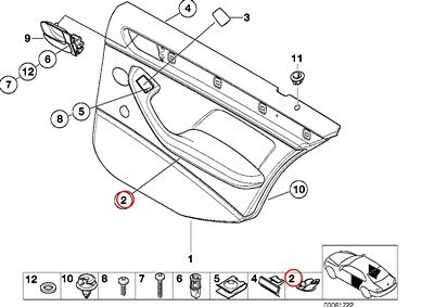 BMW Genuine Front Door Trim Panel Plug Light Beige 320i 323i 325i 325xi 328i 330i 330xi