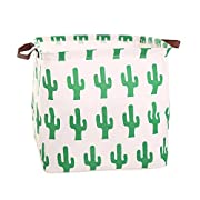 Square Canvas Toy Storage Bins Basket with Handle Collapsible Toy Organizer for Nursery Storage, Kid's Toy & Laundry, Gift Baskets (Green Cactus)
