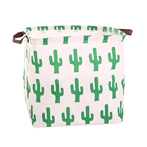 Square Canvas Toy Storage Bins Basket with Handle Collapsible Toy Organizer for Nursery Storage, Kids Toy & Laundry, Gift Baskets (Green Cactus)