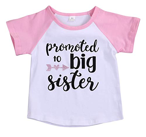 Toddler Girls T-Shirt Promoted to Big Sister Letters Print Kids Short Sleeve Tops (Pink, 2-3 Years)