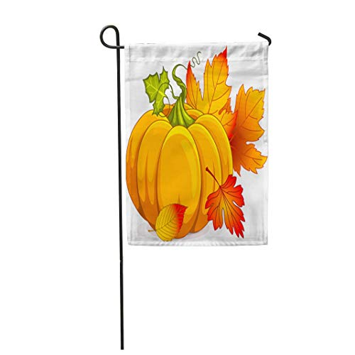 Tarolo Decoration Flag Fall of Autumn Pumpkin and Leaves Clipart Halloween Clip October Drawing Thick Fabric Double Sided Home Garden Flag 12