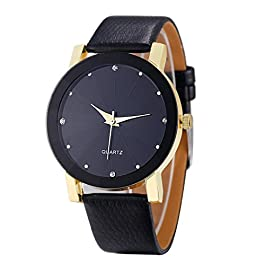 Daylin 1PC Men Classic Quartz Sport Military Stainless Steel Dial Leather Band Wrist Watch