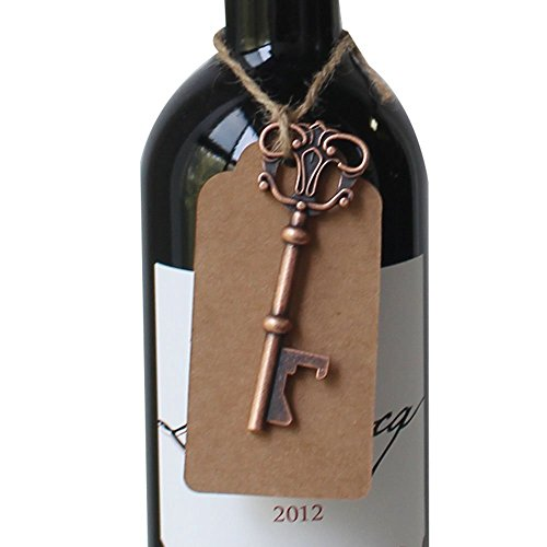 Yansanido Pack of 50 Skeleton Key Bottle Opener 5 styles mixed with Escort Tag Card and Twine for Wedding Favors for Guests Party Favors (mixed 5 styles) by Yansanido (Image #6)
